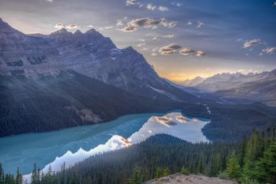 View of Peyto Lake Right before Sunset, Jasper National Park, Alberta, Canadian Rockies