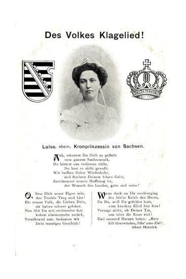 Luise, Kronprinzessin Von Sachsen, Volkes Klagelied--Giclee Print