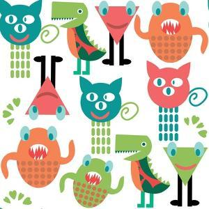 Adorable Abstract Monster Pattern by Luizavictorya72
