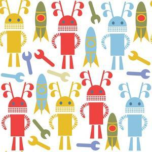 Colorful Cute Robots and Monsters Pattern by Luizavictorya72