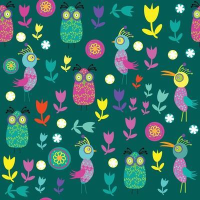 Cute Pattern with Cartoon Birds and Flowers