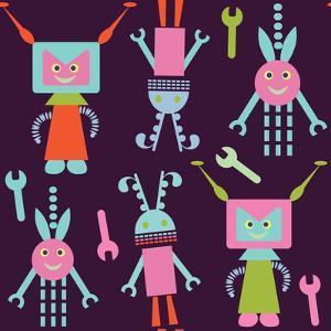 Cute Robot Pattern by Luizavictorya72