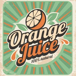 Orange Juice Retro Poster by Lukeruk