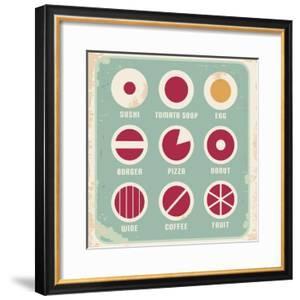 Retro Set Of Food Pictogram, Icons And Symbols by Lukeruk