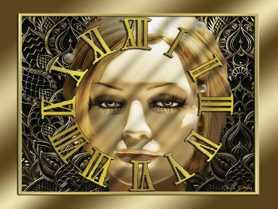 Luna Art Deco Clock-Art Deco Designs-Giclee Print