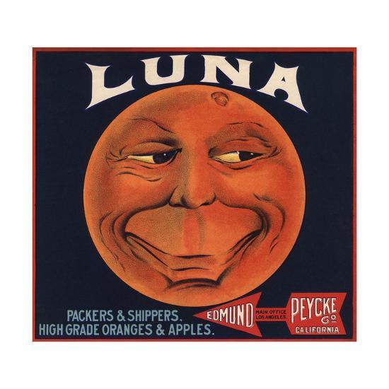 Luna Brand - Los Angeles, California - Citrus Crate Label-Lantern Press-Art Print