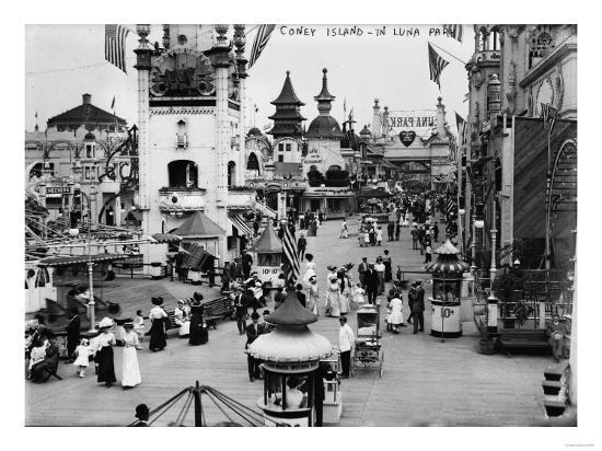 Luna Park and Rides at Coney Island, NY Photograph - Coney Island, NY-Lantern Press-Art Print