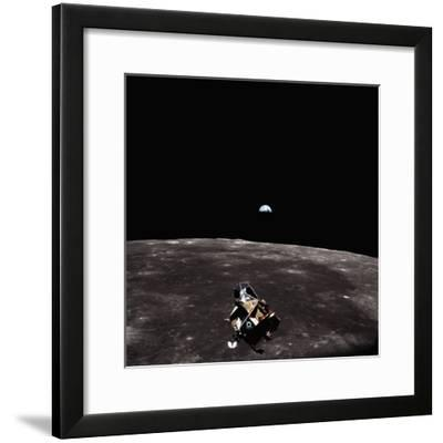 Lunar Module, Earth, and Moon-Michael Collins-Framed Photographic Print