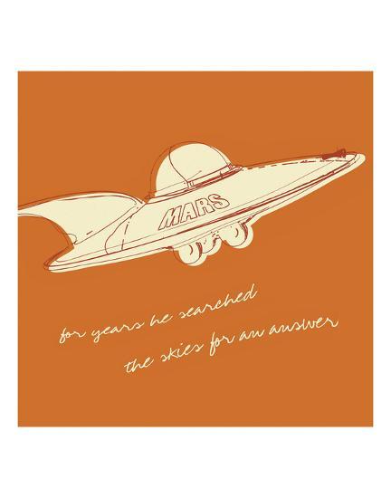 Lunastrella Flying Saucer (square)-John W^ Golden-Art Print