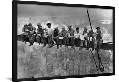 Lunch Atop a Skyscraper, c.1932-Charles C^ Ebbets-Lamina Framed Poster