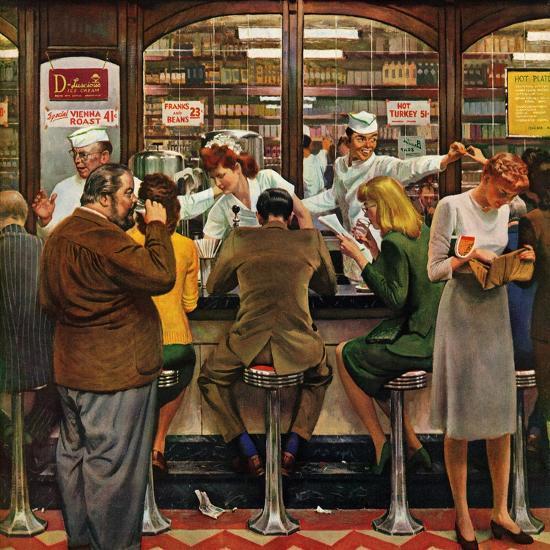 """Lunch Counter,"" October 12, 1946-John Falter-Premium Giclee Print"