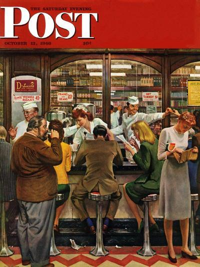 """""""Lunch Counter,"""" Saturday Evening Post Cover, October 12, 1946-John Falter-Giclee Print"""