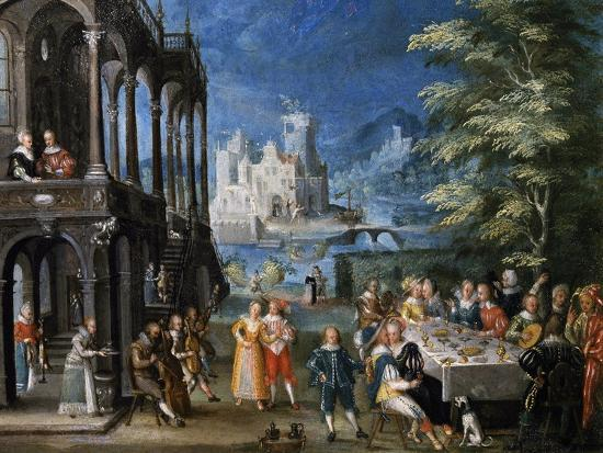 Lunch in Villa with Musicians, by Antoine Mirou (1586-1661), Detail--Giclee Print