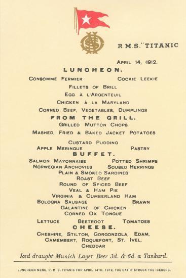 Lunch Menu on the Titanic--Art Print