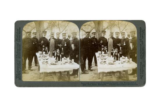 Lunch with General Nogi at Japanese Headquarters, Port Arthur, Manchuria, 1904-Underwood & Underwood-Giclee Print