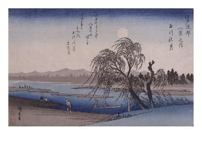 Lune d'automne sur la rivière Tamagawa-Ando Hiroshige-Giclee Print