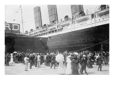 Lusitania at New York Dock--Art Print