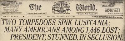 Lusitania Sinking Headline from the World, a NYC Newspaper, May 15, 1915--Art Print