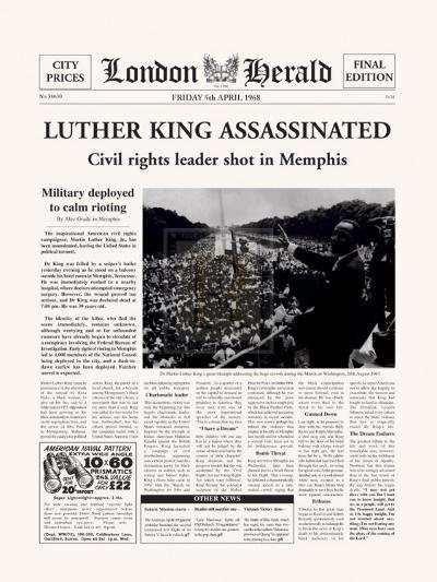 Luther King Assassinated-The Vintage Collection-Art Print