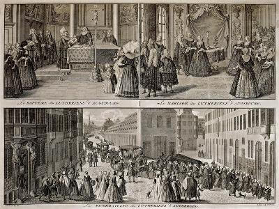 Lutheran Services in Augsburg, Engraved by B. Picart-Catharina Heckel-Giclee Print