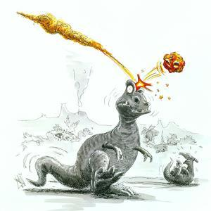 Caricature of the Death of Dinosaurs by Meteorite by Lutz Lange