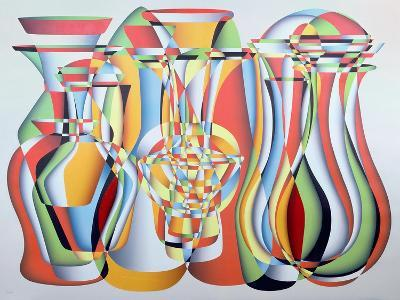 Luxate Vessel Assemblage, Green, Orange-Brian Irving-Giclee Print