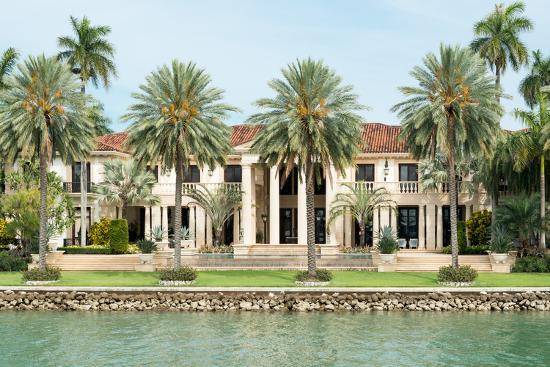 Luxurious Mansion by the Seaside on Star Island, Miami, Home of the Rich and Famous-Kamira-Photographic Print