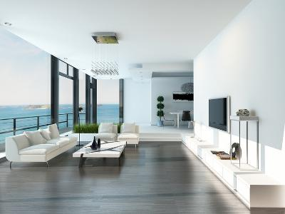 Luxury Living Room Interior with White Couch and Seascape View-PlusONE-Photographic Print