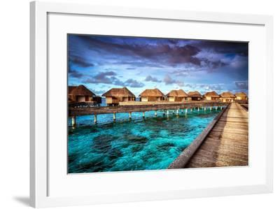 Luxury Resort, Many Cute Bungalow on the Water, Amazing View, Beautiful Coral under Transparent Wat-Anna Omelchenko-Framed Photographic Print