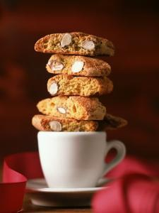 Cantucci Biscuits Piled on a Coffee Cup by Luzia Ellert