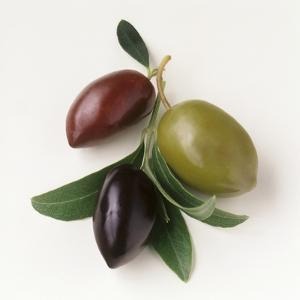 One Red, One Green and One Black Olive by Luzia Ellert