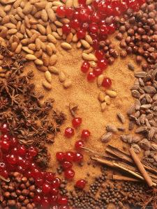 Spices, Nuts, Almonds and Cherries Forming a Surface by Luzia Ellert