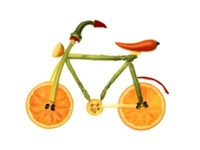 Vegetables and Fruit Forming the Shape of a Bicycle by Luzia Ellert
