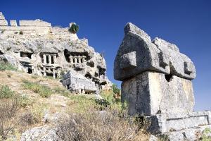 Lycian Sarcophagus and Ottoman Fortress with Rock Tombs, Tlos, Antalya, Turkey