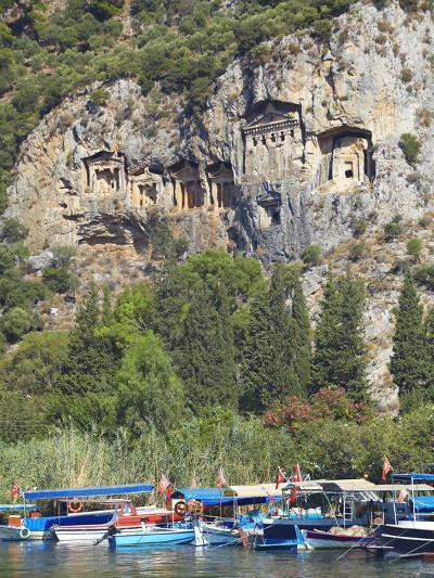 Lycian Tombs of Dalyan with Boats Below, Dalyan, Anatolia, Turkey, Asia Minor, Eurasia-Sakis Papadopoulos-Photographic Print