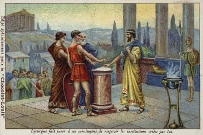 Lycurgus of Sparta Making His Fellow Citizens Swear to Respect the Institutions Established by Him--Giclee Print
