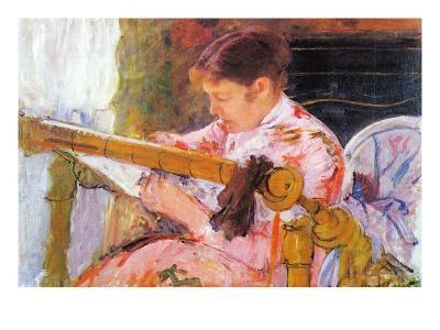 Lydia At The Cord Framework-Mary Cassatt-Art Print