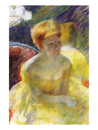 Lydia, The Arms Rested, In The Theater Loge-Mary Cassatt-Art Print