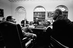 Lyndon Johnson Meeting with Civil Rights Leaders at the White House, March 16, 1966