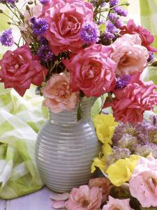 Rosa (Mixed) & Centaurea in Blue Jug by Lynne Brotchie