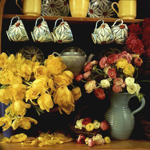 Spring Arrangement on a Dresser Ranunculus, Yellow Tulipa Baskets, China Cups & Teapot by Lynne Brotchie