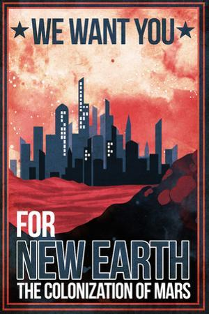Mars Retro Space Travel - Colonize Mars by Lynx Art Collection