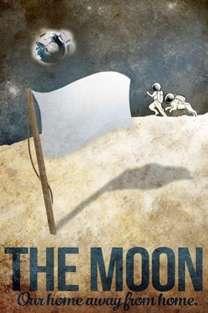 The Moon Retro Space Travel - Home Away From Home by Lynx Art Collection