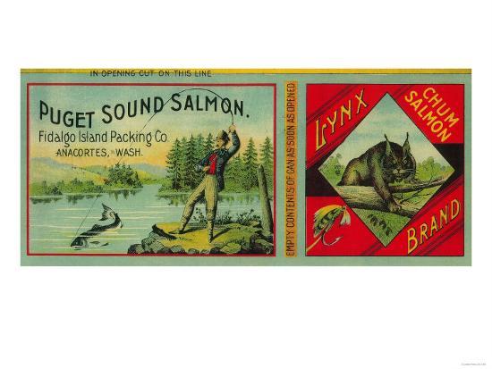 Lynx Salmon Can Label - Anacortes, WA-Lantern Press-Art Print