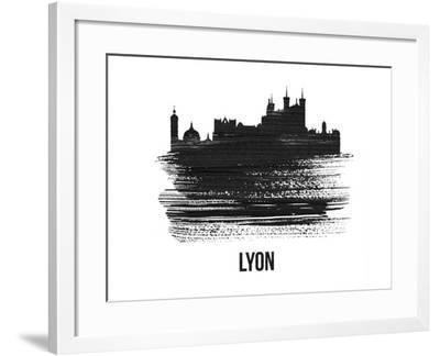 Lyon Skyline Brush Stroke - Black II-NaxArt-Framed Art Print
