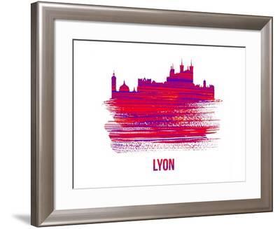 Lyon Skyline Brush Stroke - Red-NaxArt-Framed Art Print