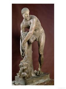 Hermes Tying His Sandal, Roman Copy of a Greek Original Attributed to Lysippos by Lysippos