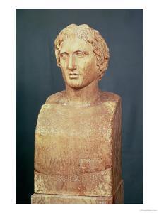 Portrait Bust of Alexander the Great (356-323 BC) Known as the Azara Herm, Greek Replica by Lysippos