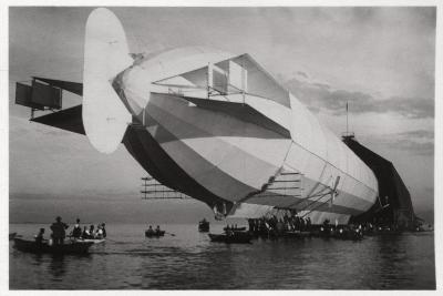 Lz 6 Entering a Floating Hanger, Halle, Germany, C1909-1910--Giclee Print