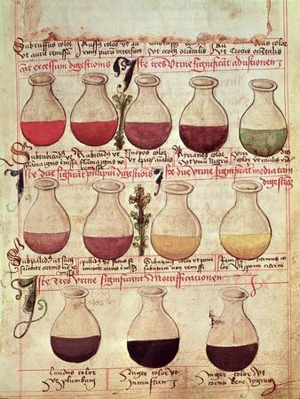 "Series of Flagons for Urine Analysis, from ""Tractatus De Pestilencia"""